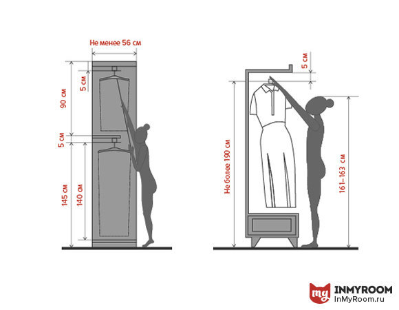 Высота для крючков для одежды